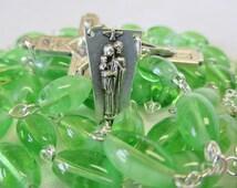 Handmade Catholic Rosary, OVERSIZE Rosary, Oval Czech Glass Glow in the Dark Beads, Holy Family Center