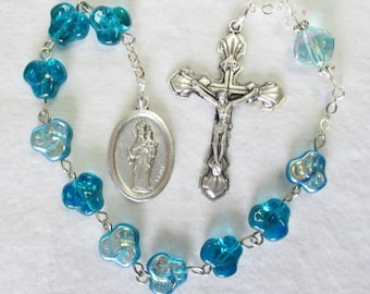 Handmade Catholic Tenner Single Decade Rosary, Mary Help of Christians and St Don Bosco, Aqua Czech AB Flower Beads, Shell Crucifix