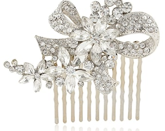 Bridal hair comb, bridal crystal comb, bridal bow comb, bridal swarovski comb, bridal hairpiece, bridal side comb, bridal headpiece comb