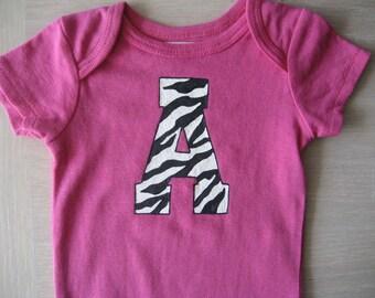 Zebra Onesie,Zebra Initial Personalized Hot Pink Onesie, Personalized Initial Bodysuit,Hot Pink or Pink Onesie, Baby Girl Shower Gift