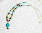 Colorful statement necklace, Bohemian gypsy hippie long gold red agate turquoise green statement necklace