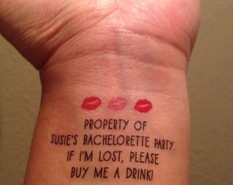 10 Bachelorette Party Temporary Tattoos, Buy Me A Drink & Bride Tattoo - Custom