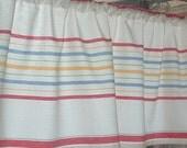RED Toweling STRIPED VALANCE Cotton 52 x 15  Retro Kitchen Border Stripes  No Top Ruffle