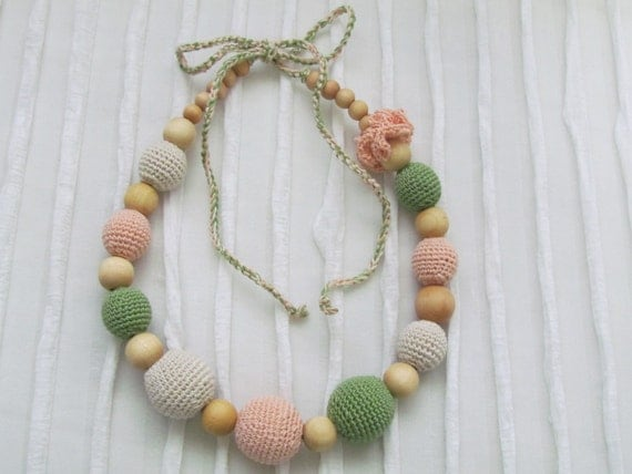 Crochet teething  nursing necklace, Mommy necklace, all natural  wood beads- organic cotton crochet thread-made in the USA. Ready to ship