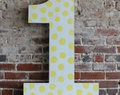 "36"" Wooden Number One - First Birthday Photo Prop, Distressed Polka Dots, Oversize Number, all numbers many colors avail"