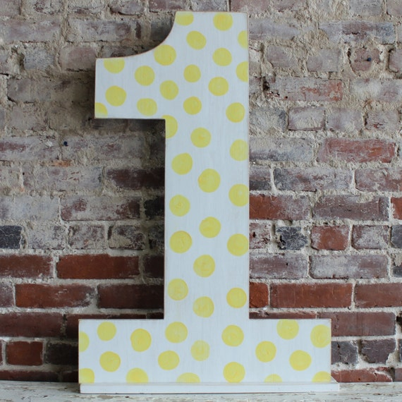 """36"""" Wooden Number One - First Birthday Photo Prop, Distressed Polka Dots, Oversize Number, all numbers many colors avail"""