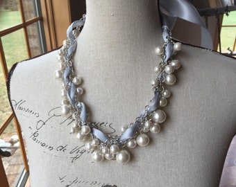 Light gray silver ribbon with Ivory pearls chunky ribbon necklace- bridal jewelry