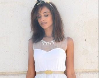 Heart shape knee length wedding dress, beach wedding, garden wedding boho wedding dress