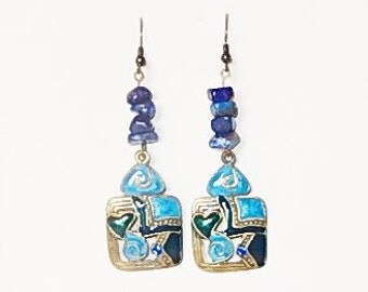 Blue dangle earrings with Lapis Lazuli chips and Enamel charms, Brass charms, Gemstone earrings