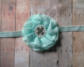 Flower Headband or Clip-- newborns, babies, girls, women, photo prop, aqua