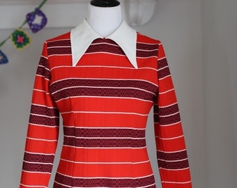 Vintage Women's Polyester Tunic Top 1970's MOD