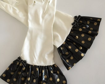 Plain Jane Polka Dot Oilcloth Gloves -Black w/GOLD DOTS - Latex Free - Not Just for Cleaning (Size Med)