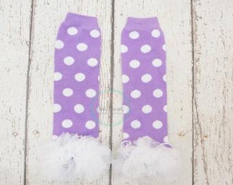Polka Dot leg warmers, Purple leg warmers, baby Leg warmers, ruffle Leg warmers, Polka dot leg warmers, Girls Leg Warmers, baby