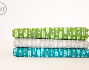 Yoyogi Park Feather Leaf Fat Quarter Bundle, 3 Pieces, Skinny laMinx, Heather Moore, 100% GOTS-Certified Organic Cotton, Cloud9 Fabrics