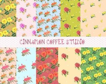 Vintage Rose Digital Papers, Rose Backgrounds, Retro Rose, Chabby Chic Digital Papers, Retro Rose Texture