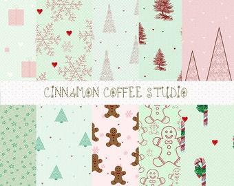 Christmas Backgrounds, Vintage Style Christmas Digital Papers, Christmas Digital Sheets, set of 10