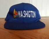vintage Washington snapback Hat Blue cap One Size sewn sailboat tourist gear northwest