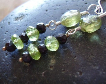 Lucky Drops - Genuine Peridot Beads & Black Spinel Beads 925 Sterling Silver Dangle Earrings August Birthstone 16th Anniversary Gift For Her