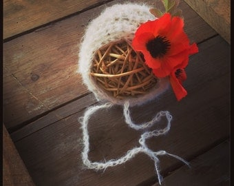 Beautiful poppy Flower Bonnet. Made to order. Newborn. Great photo photography prop.