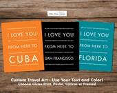 Personalized Gift Housewarming Idea - Travel Art Print, Home Decor, Wall Hanging, Wedding 1st Anniversary Graduation