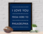 Philadelphia Wall Art Print, I Love You From Here To PHILADELPHIA, Shown in Navy Blue - Dorm Decor Home Wall Decor