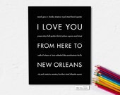 New Orleans Travel Wall Decor, I Love You From Here To NEW ORLEANS, Shown in Black - Choose Color Canvas Frame, Free U.S. Shipping