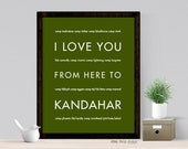 US Army Mom Girlfriend Wife Gift, I Love You From Here To KANDAHAR Poster, Idea for Deployment Retirement