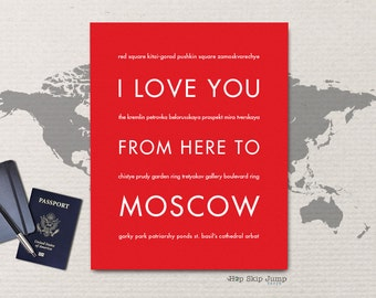 Moscow Russia Art Print, I Love You From Here To MOSCOW, Shown in Bright Red