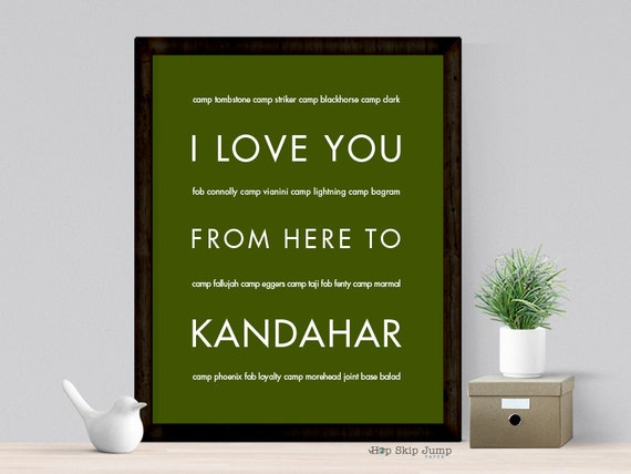 US Army Mom Girlfriend Wife Gift, I Love You From Here To KANDAHAR Poster, Idea for Deployment Retirement, Free U.S. Shipping