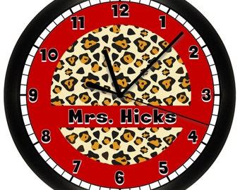 Cheetah Print Personalized Wall Clock Animal Print