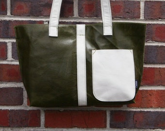 Green Leather Mini Tote Bag-green and white-ready to ship-gift-handmade-upcycled leather bag-upcycled-cwinn designs-made in america-tote
