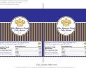 Little Prince Baby Shower in Royal Blue and Gold- Chocolate Bar Wrapper for Favors or Candy Buffet- Print your own