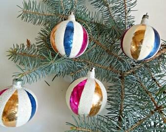 4 Vintage Mica Mercury Glass Christmas Ornaments  Handpainted 1940's