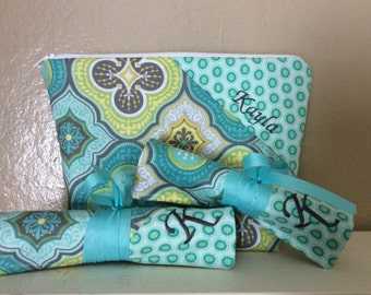 3 Piece Personalized Beauty Set - Large Cosmetic Bag/Brush Roll/Jewelry Roll with Name on Bag and Initial on both rolls