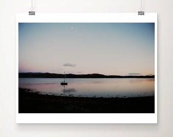 scotland photograph boat photograph landscape photography sunset photograph Scottish loch photograph mountains photograph