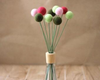 10 Felted Wool Billy Button Balls Craspedia Pink Green Home Decor