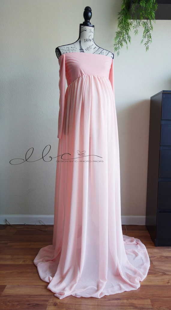 Claire dusty pink chiffon maternity gown with closed front and