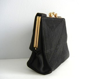 Vintage 1940s Purse, 1940s Black Purse, Vintage Corded Purse, Gold Frame Purse, 40s Vintage Black Purse, 1940 Black Fabric Purse