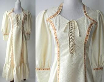 Vintage 1960s Hippie Dress, Vintage 60s Boho Dress, Vintage 1960s Maxi Dress, Hippie Cotton Dress, Boho White Cotton Gown, Prairie Country