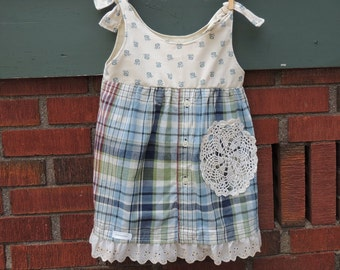 Girls Size 6 Upcycled Dress/Shirt with Adjustable Straps Ready to Ship