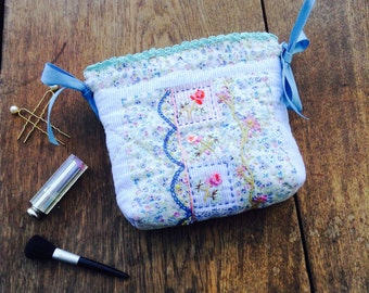 Toilet Bag, Cosmetic bag, quilted and embroidered makeup bag
