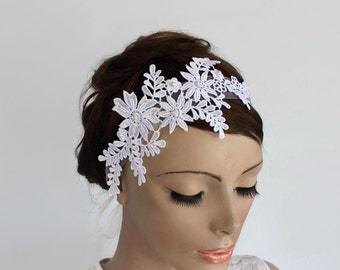 Venetian Lace Applique Bridal Headband, Organza Ribbon Fascinator, White Floral  Weddings Head Piece, Handmade. OOAK