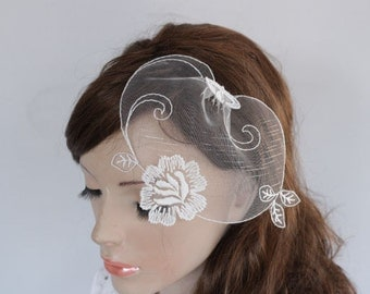 Dainty Tulle Blusher Veil Mini Shabby Chic Comb Lacy Veil Blusher Rose EmbroideryWedding Head Piece
