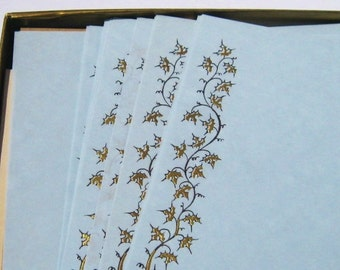 Vintage Stationery, Pale Blue Parchment Stationery: 1960s Eaton's Antique Light Blue and Gold Luxury Stationery, Boxed Set
