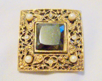 Vintage Gold Tone Filigree Hematite Brooch