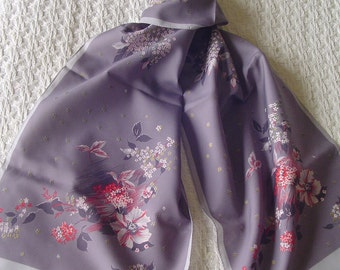 Neck Scarf, Long Neck Scarf, Made in Italy Neck Scarf, 100% Polyester, Ladies Accessory, Unusual Gray Background with Flower Pattern