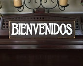 BIENVENIDOS Welcome Sign Plaque Spanish Southwest Decor Style Wooden You Pick from 10+ Colors Hand Painted