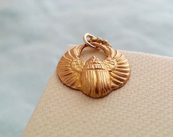 Gold Scarab Necklace. Round Egyptian Pendant. Layering  Necklace. Ball Chain Necklace. Short Necklace. Tiny Scarab Gold Necklace