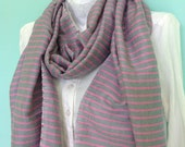 SCARF- Cotton Gray and Pink Stirped Scarf- Men Women Gray and pink Rose hand Woven Ethiopian Scarf- Accessory Gray Pink Cotton Scarf