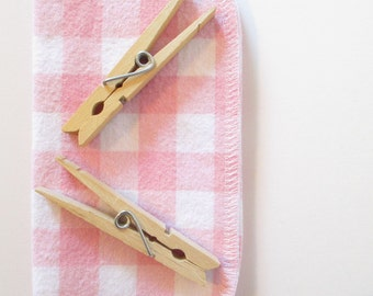 "Reusable Cloth Wipes Pack of 16--2 Ply--""The Green Option""--Pink & White Gingham--Regular--Ready To Ship"